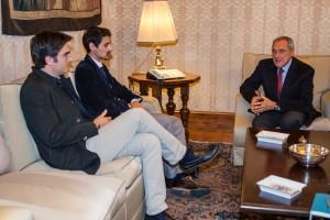 Il presidente del Senato Piero Grasso con Stefano La Barbera e Francesco Bertolino